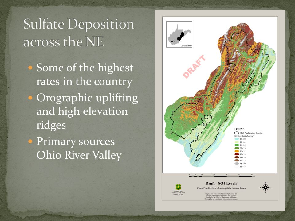 Some of the highest rates in the country Orographic uplifting and high elevation ridges Primary sources – Ohio River Valley