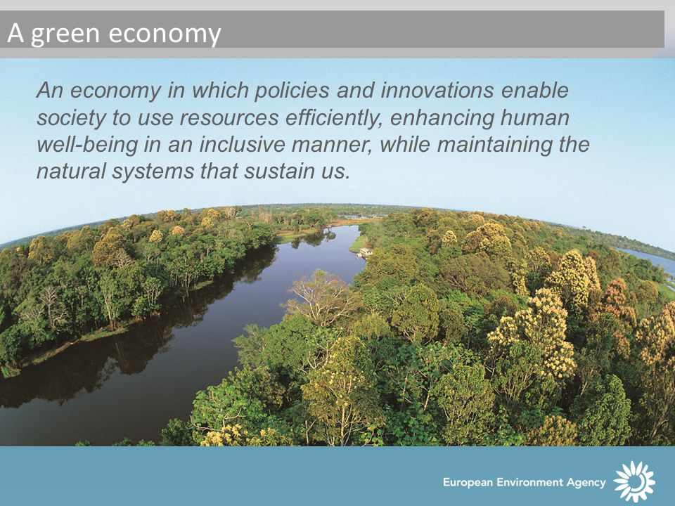 An economy in which policies and innovations enable society to use resources efficiently, enhancing human well-being in an inclusive manner, while maintaining the natural systems that sustain us.