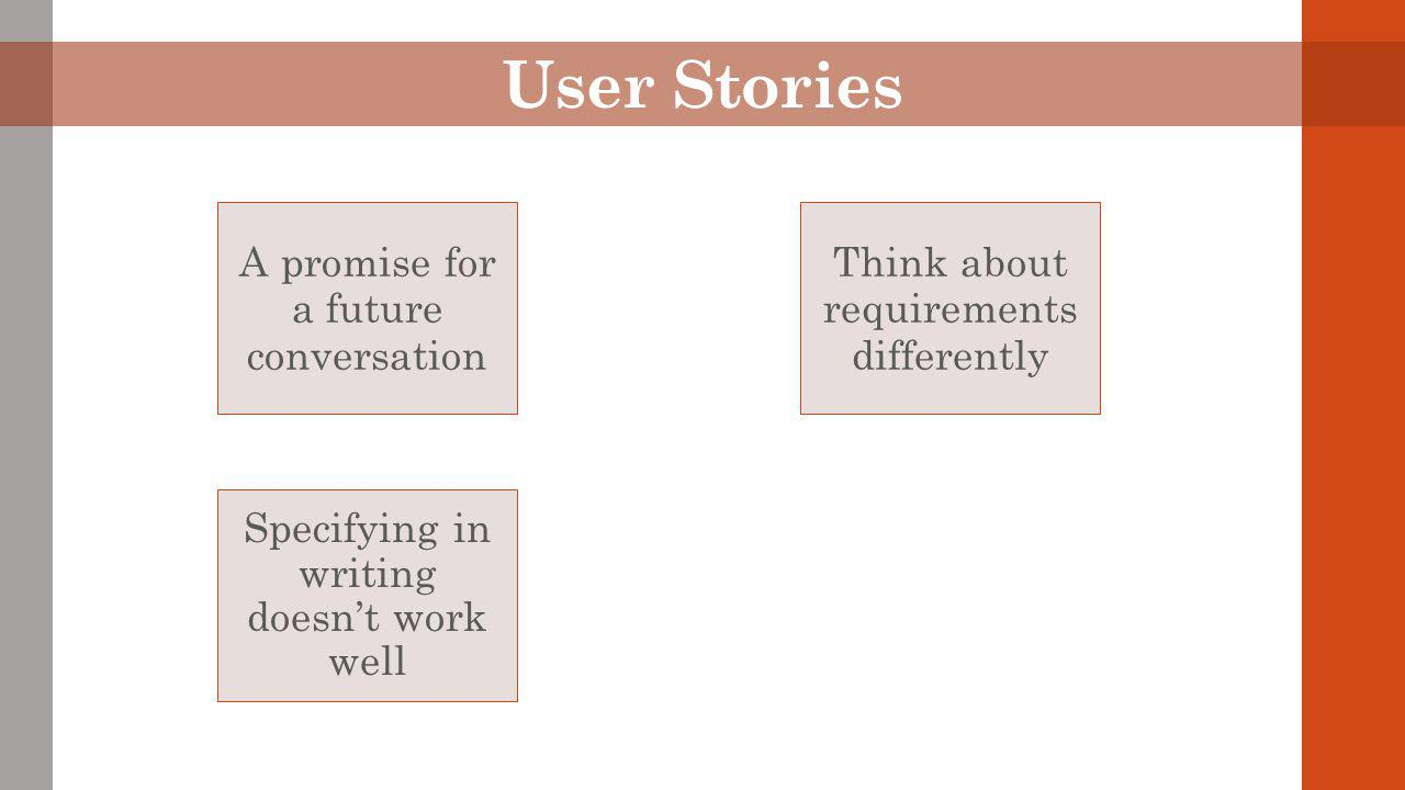 User Stories A promise for a future conversation Think about requirements differently Specifying in writing doesn't work well