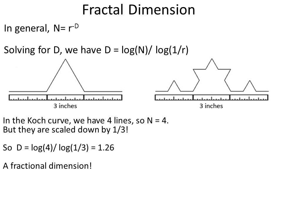 Fractal Dimension Solving for D, we have D = log(N)/ log(1/r) In general, N= r -D In the Koch curve, we have 4 lines, so N = 4. But they are scaled do