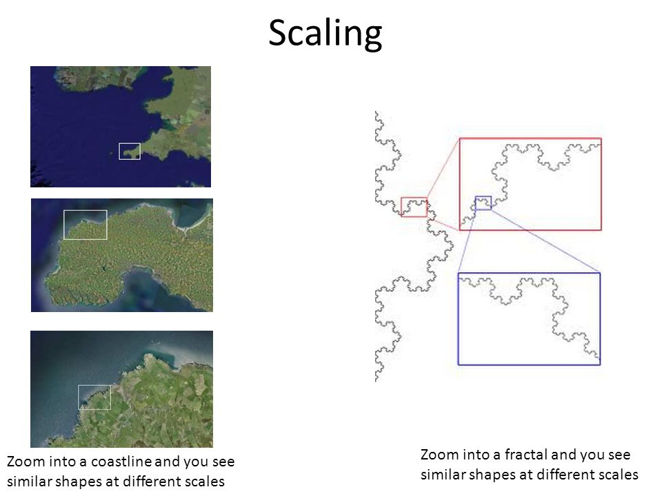 Scaling Zoom into a coastline and you see similar shapes at different scales Zoom into a fractal and you see similar shapes at different scales