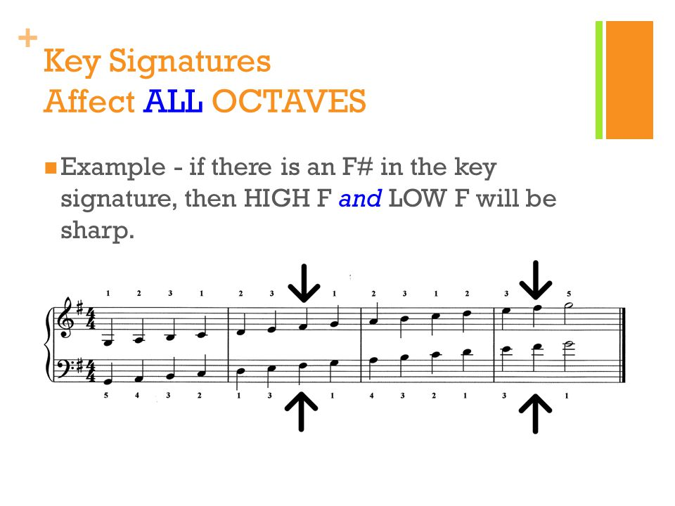 + Key Signatures Affect ALL OCTAVES Example - if there is an F# in the key signature, then HIGH F and LOW F will be sharp.