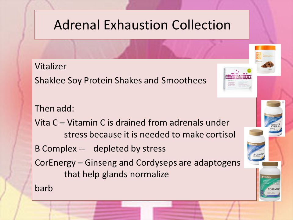 Adrenal Exhaustion Collection Vitalizer Shaklee Soy Protein Shakes and Smoothees Then add: Vita C – Vitamin C is drained from adrenals under stress be