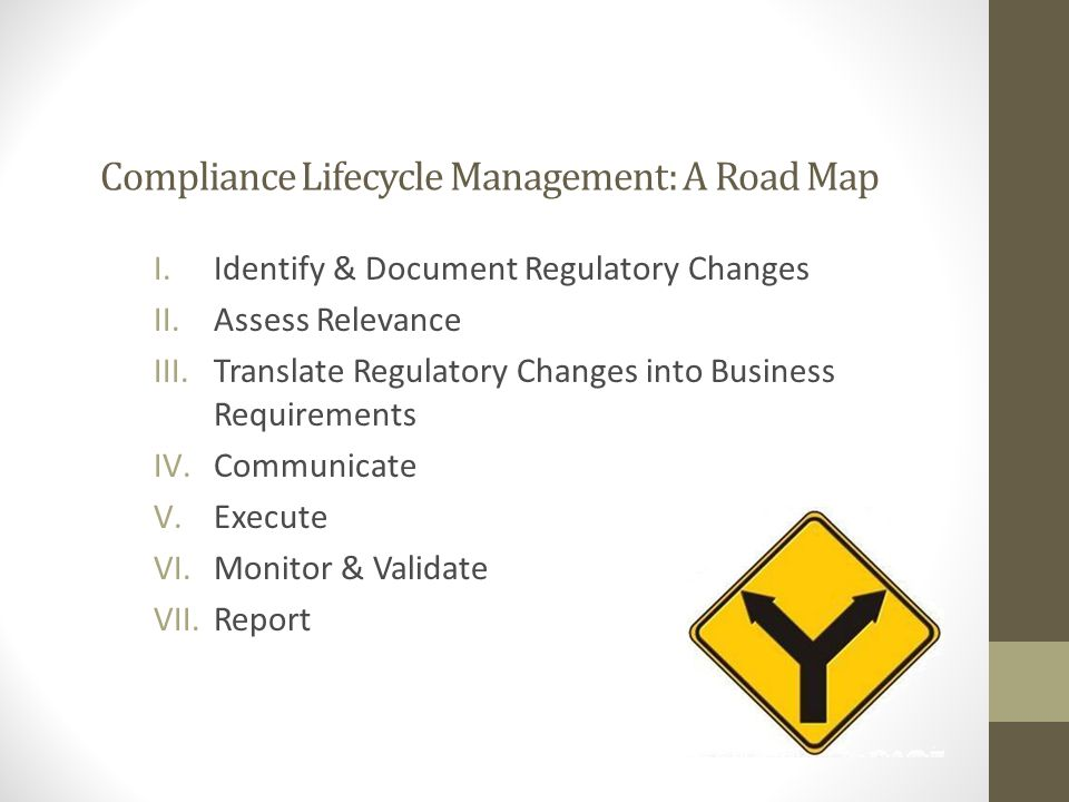 Compliance Lifecycle Management: A Road Map I.Identify & Document Regulatory Changes II.Assess Relevance III.Translate Regulatory Changes into Business Requirements IV.Communicate V.Execute VI.Monitor & Validate VII.Report