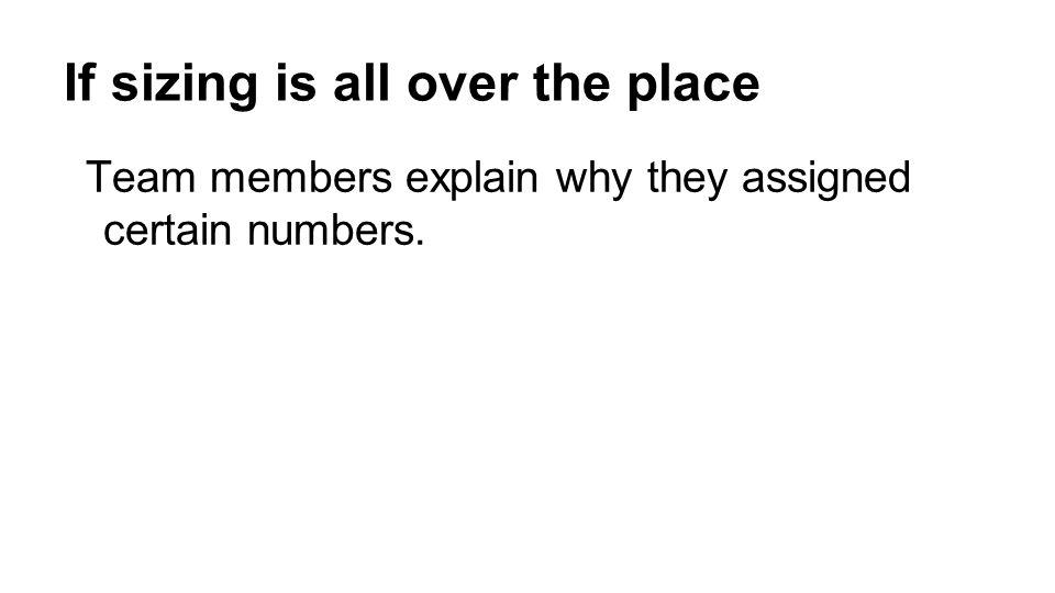 Team members explain why they assigned certain numbers.