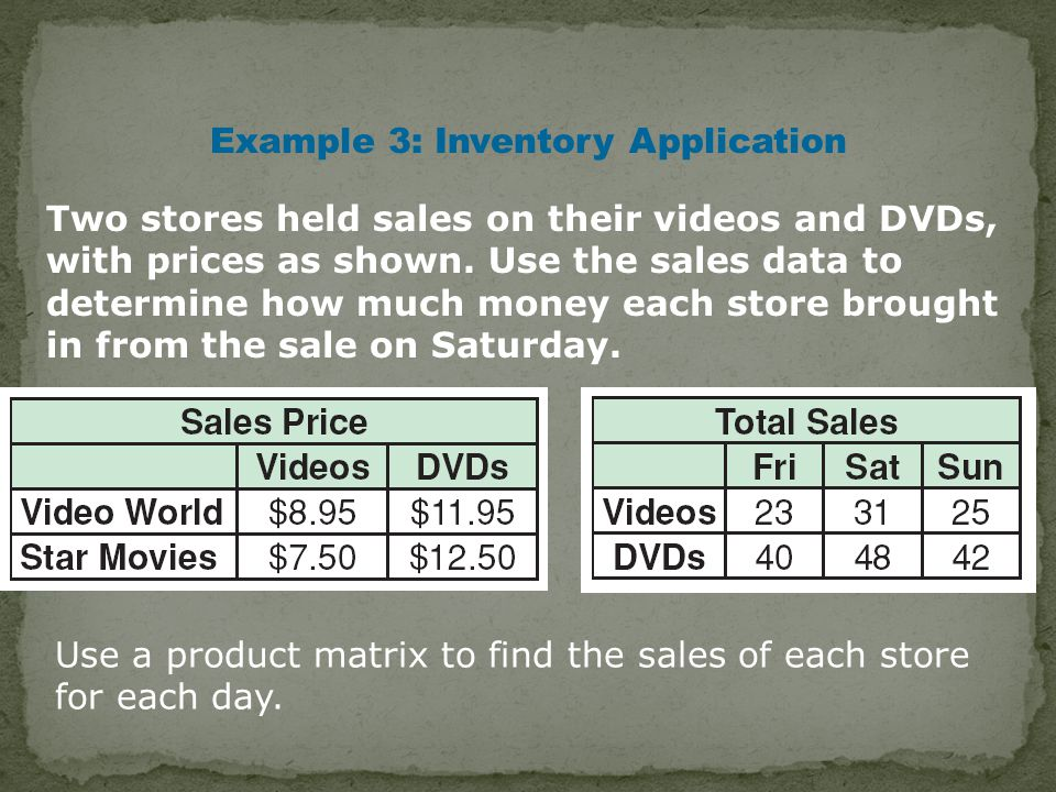 Two stores held sales on their videos and DVDs, with prices as shown.