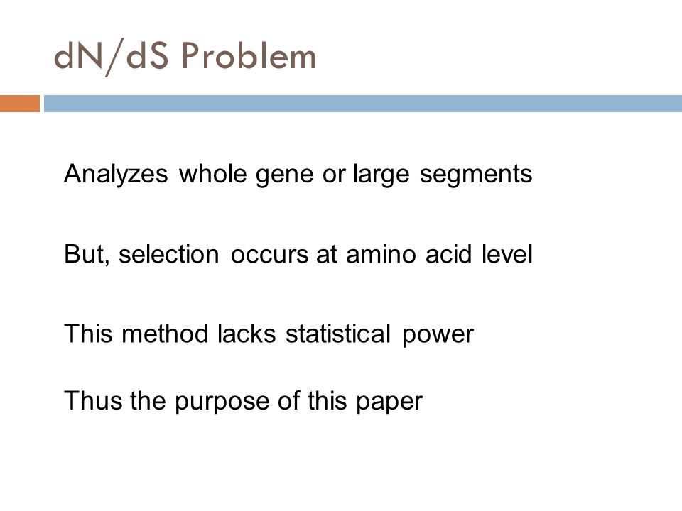 dN/dS Problem Analyzes whole gene or large segments But, selection occurs at amino acid level This method lacks statistical power Thus the purpose of this paper
