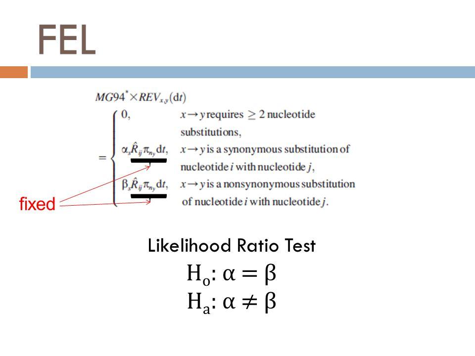 FEL Likelihood Ratio Test H o : α = β H a : α ≠ β fixed