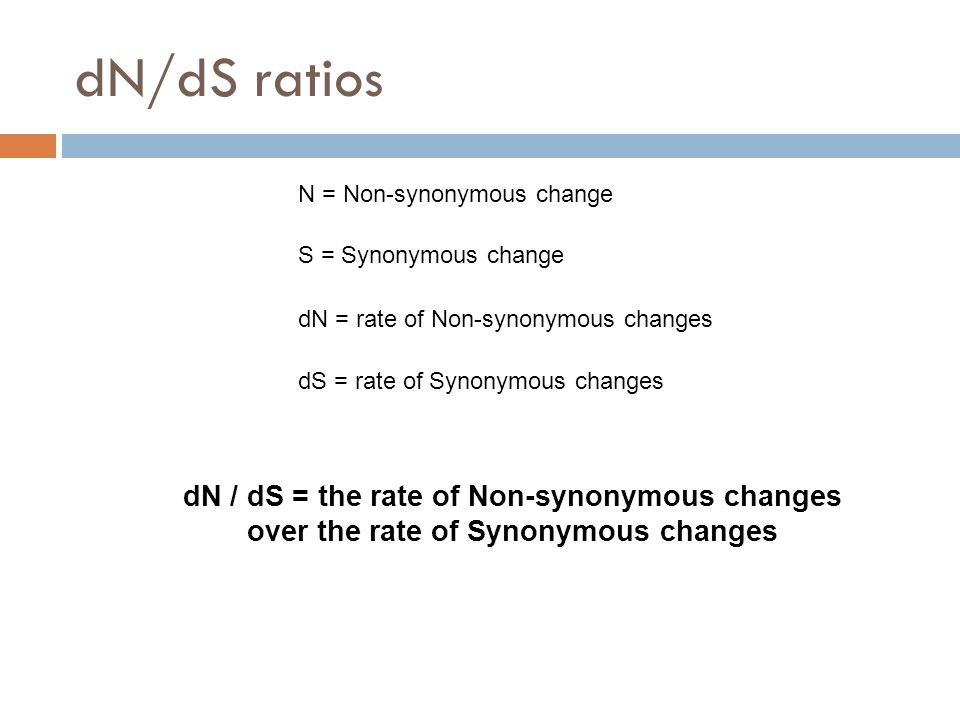 dN/dS ratios N = Non-synonymous change S = Synonymous change dN = rate of Non-synonymous changes dS = rate of Synonymous changes dN / dS = the rate of Non-synonymous changes over the rate of Synonymous changes