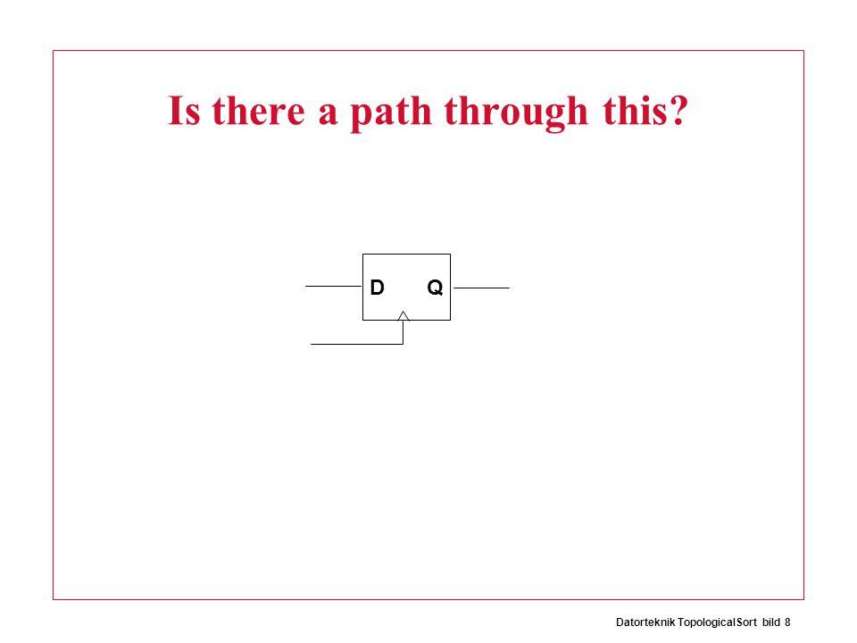Datorteknik TopologicalSort bild 9 The D- flip flop Combinationally, the D-flip flop is like this: D Q
