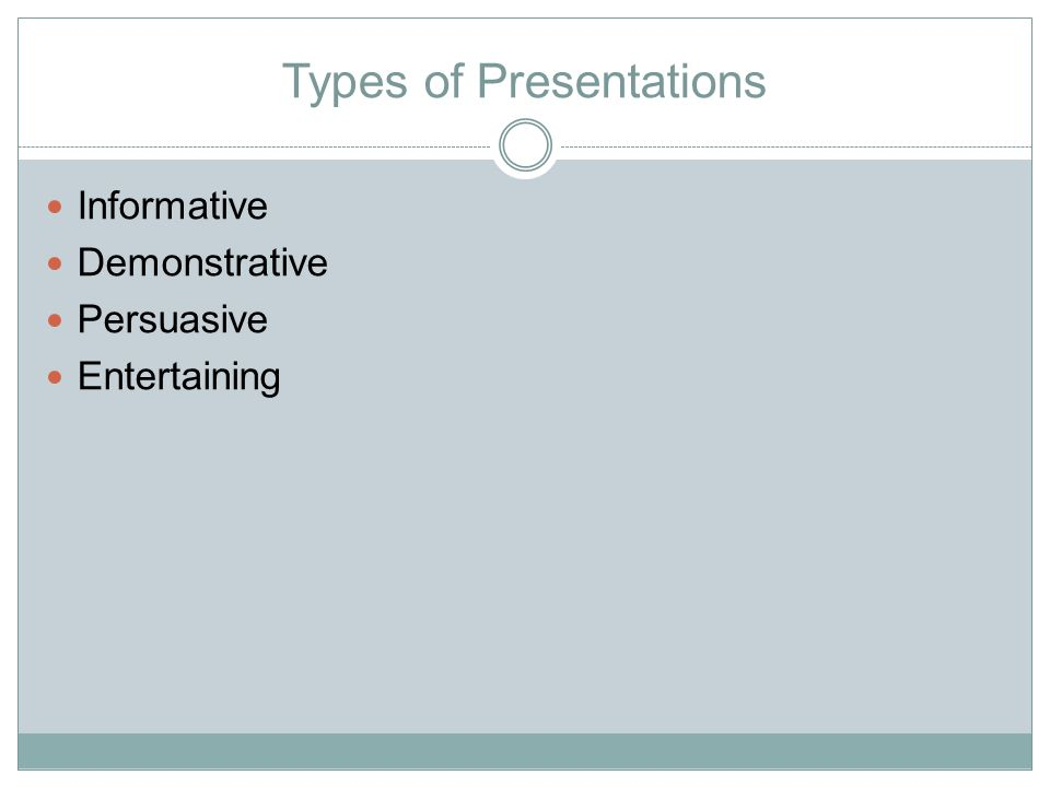 Types of Presentations Informative Demonstrative Persuasive Entertaining