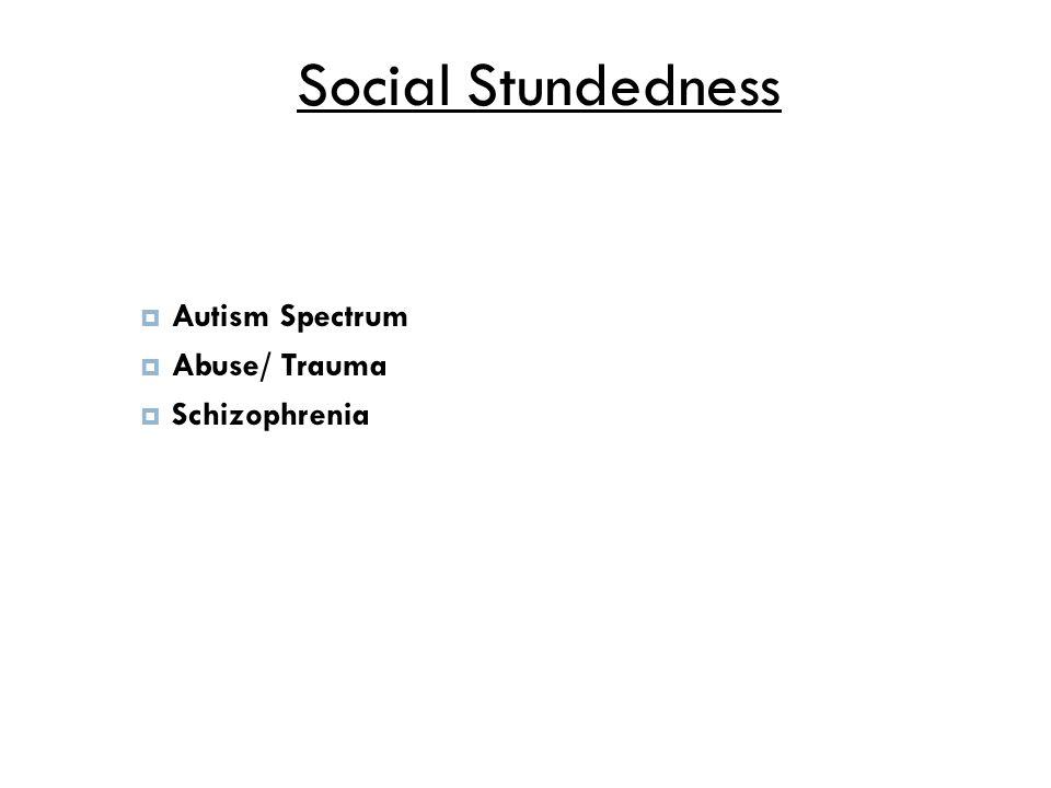 Social Stundedness  Autism Spectrum  Abuse/ Trauma  Schizophrenia