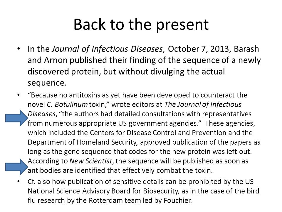 Back to the present In the Journal of Infectious Diseases, October 7, 2013, Barash and Arnon published their finding of the sequence of a newly discovered protein, but without divulging the actual sequence.