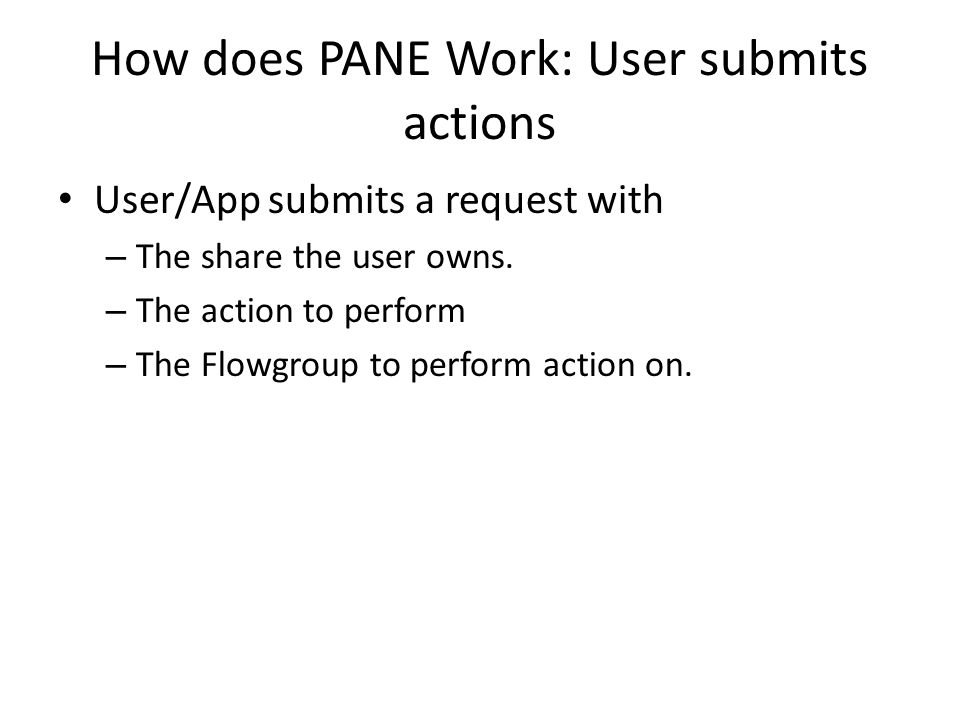 How does PANE Work: User submits actions User/App submits a request with – The share the user owns.