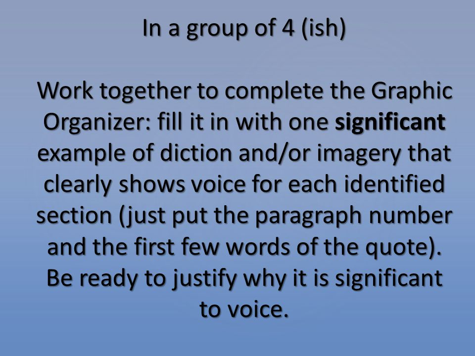 CHECK YOUR UNDERSTANDING (page24) Using your Graphic Organizer and annotations, write a paragraph analyzing the voice of the narrator and analyzing the use of vivid imagery and diction to convey this significant incident.