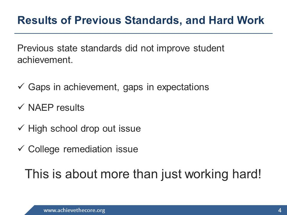 www.achievethecore.org Principles of the CCSS Fewer - Clearer - Higher Aligned to requirements for college and career readiness Based on evidence Honest about time