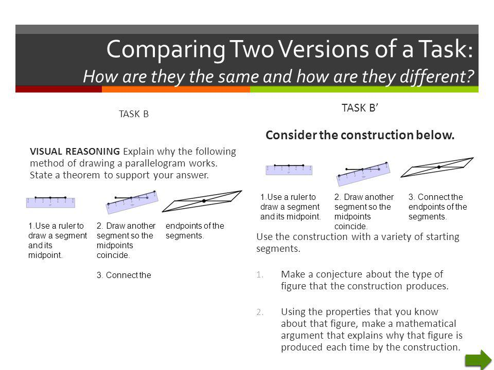 Comparing Two Versions of a Task: How are they the same and how are they different? TASK B VISUAL REASONING Explain why the following method of drawin