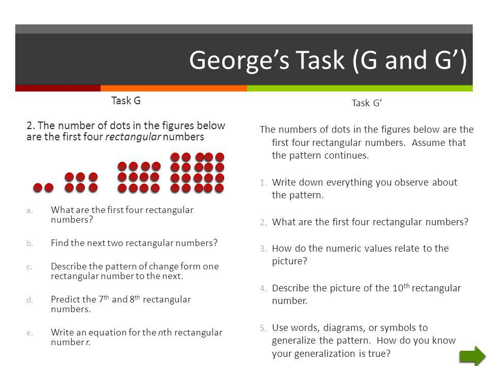 George's Task (G and G') Task G 2. The number of dots in the figures below are the first four rectangular numbers a. What are the first four rectangul