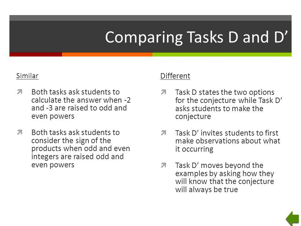 Comparing Tasks D and D' Similar  Both tasks ask students to calculate the answer when -2 and -3 are raised to odd and even powers  Both tasks ask s