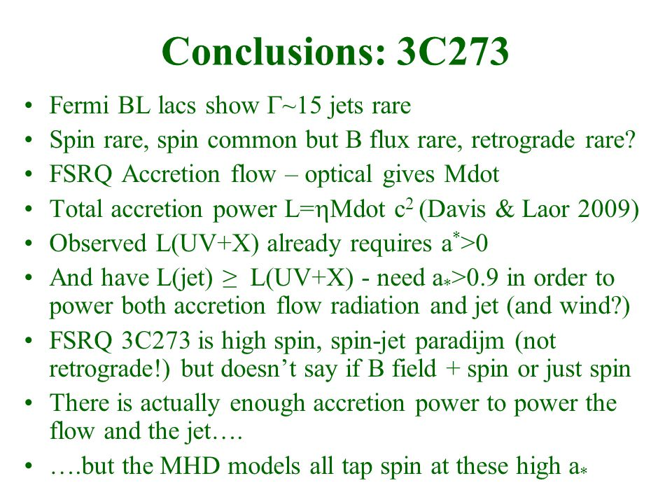 Conclusions: 3C273 Fermi BL lacs show  ~15 jets rare Spin rare, spin common but B flux rare, retrograde rare.