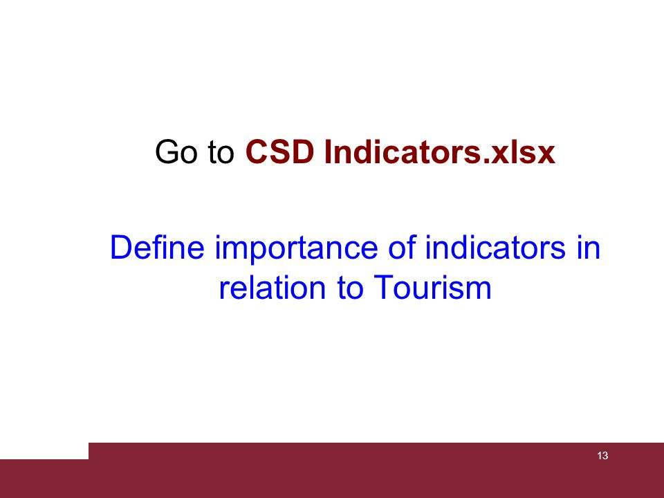 CSD Indicators of Sustainable Development 1 ThemeSub-themeCore indicatorIndividualCommunityState PovertyIncome povertyProportion of population living below national poverty line Income inequality Ratio of share in national income of highest to lowest quintile SanitationProportion of population using an improved sanitation facility Drinking waterProportion of population using an improved water source Access to energy Share of households without electricity or other modern energy services Living conditions Proportion of urban population living in slums 14