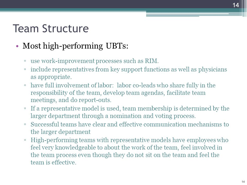14 Team Structure Most high-performing UBTs: ▫use work-improvement processes such as RIM. ▫include representatives from key support functions as well