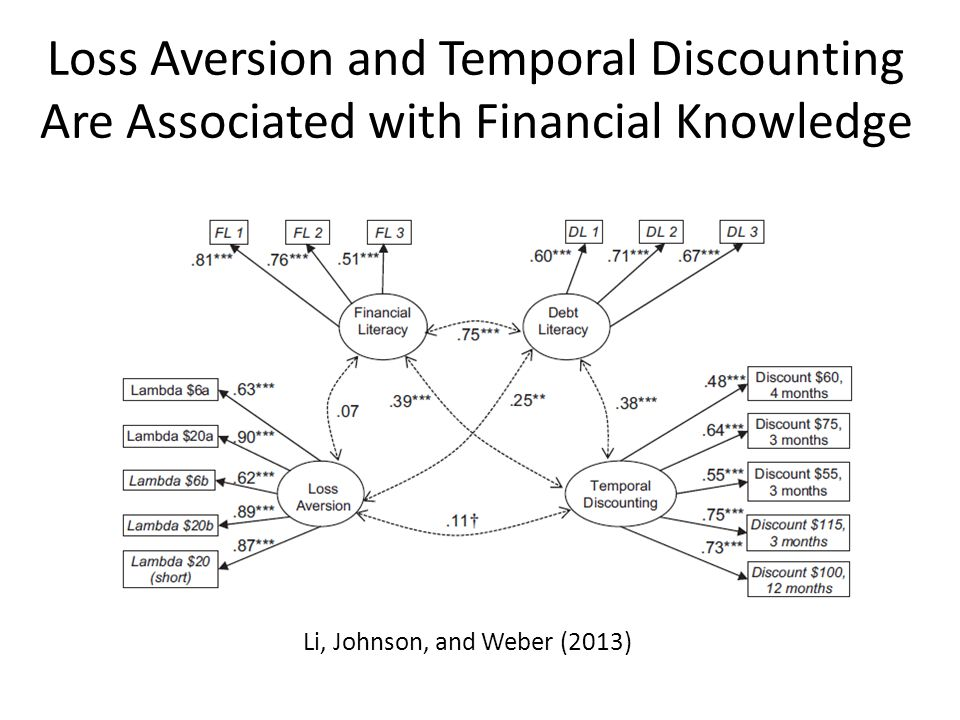 Loss Aversion and Temporal Discounting Are Associated with Financial Knowledge Li, Johnson, and Weber (2013)