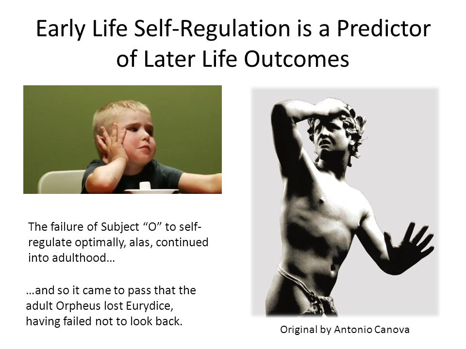 Early Life Self-Regulation is a Predictor of Later Life Outcomes The failure of Subject O to self- regulate optimally, alas, continued into adulthood… Original by Antonio Canova …and so it came to pass that the adult Orpheus lost Eurydice, having failed not to look back.