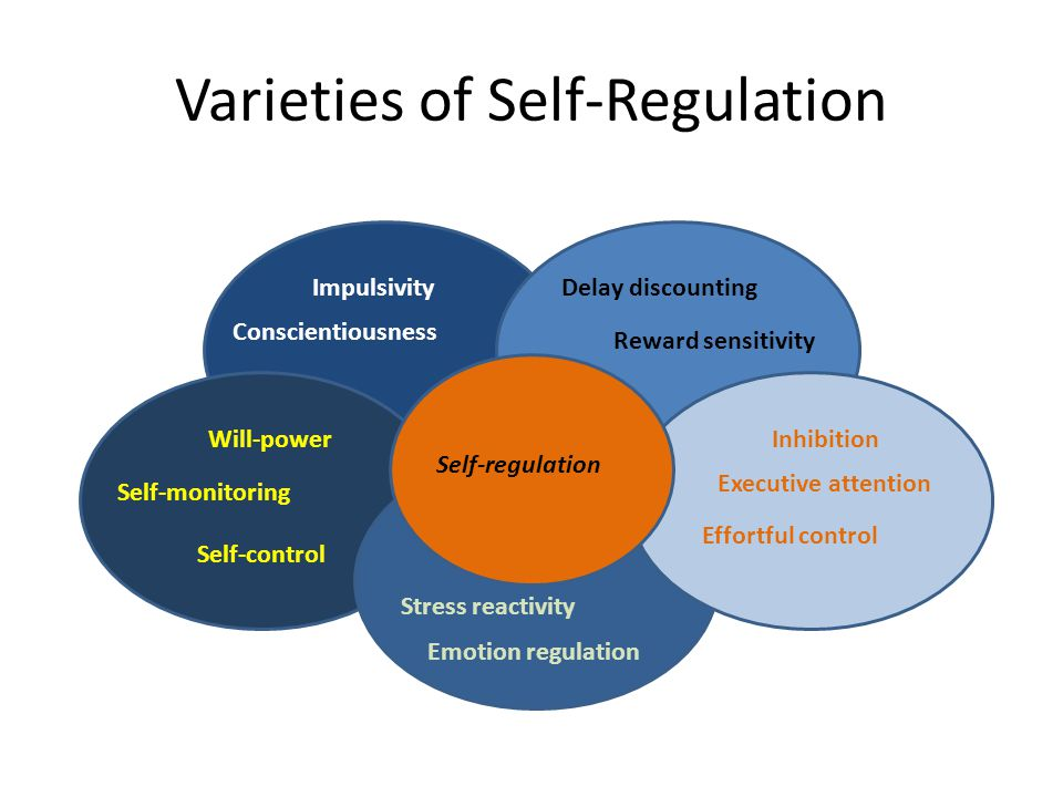 Varieties of Self-Regulation Impulsivity Conscientiousness Self-control Self-monitoring Will-power Emotion regulation Stress reactivity Delay discount