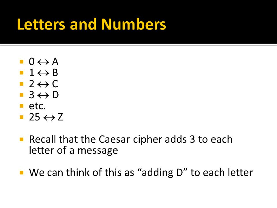 """ 0  A  1  B  2  C  3  D  etc.  25  Z  Recall that the Caesar cipher adds 3 to each letter of a message  We can think of this as """"adding D"""