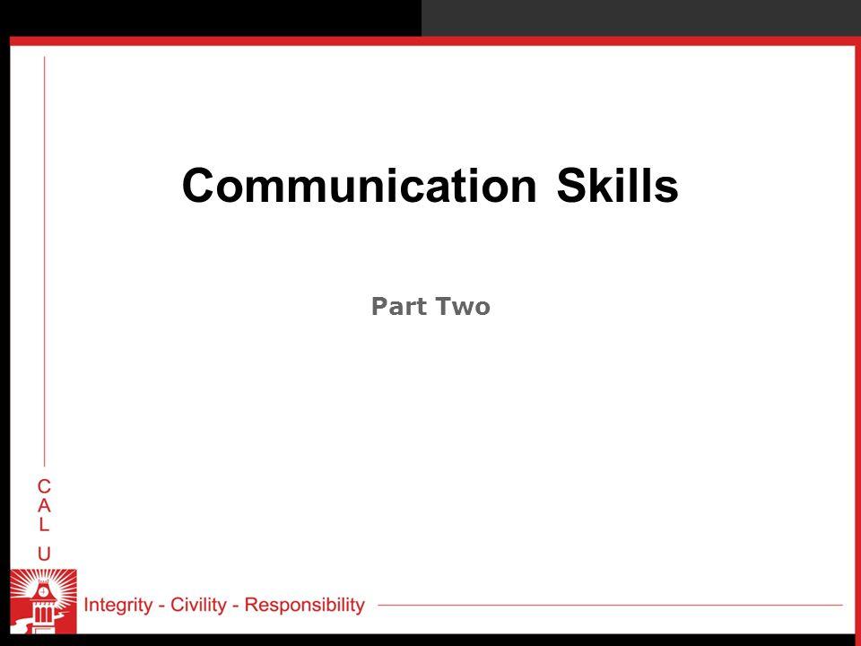 Communication Skills Part Two