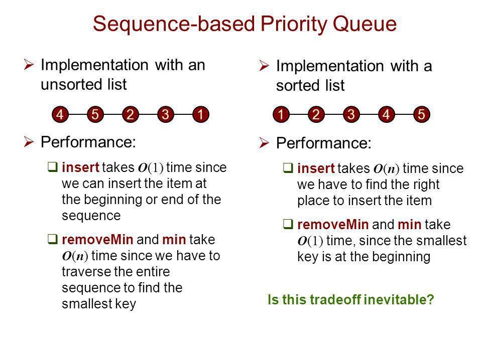 Heaps  Goal:  O(log n) insertion  O(log n) removal  Remember that O(log n) is almost as good as O(1).