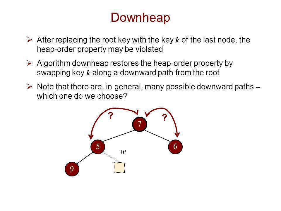 Downheap  We select the downward path through the minimum-key nodes.