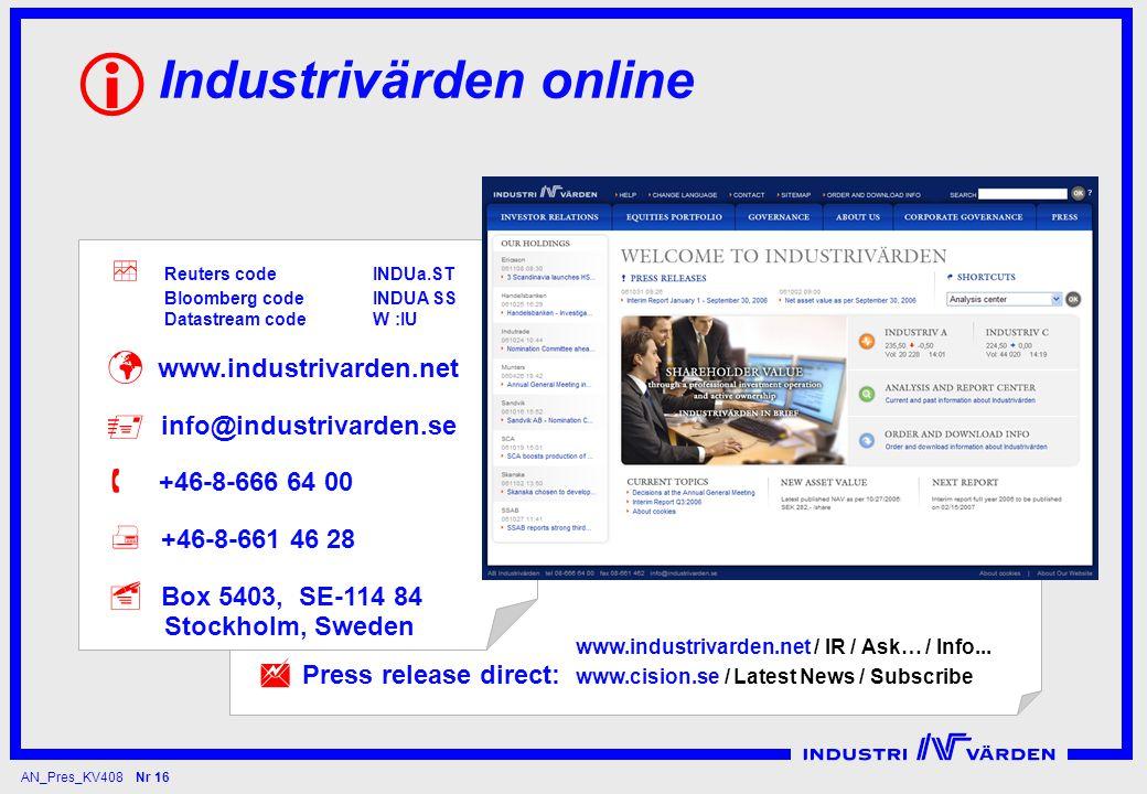 AN_Pres_KV408 Nr 16 Industrivärden online   Press release direct: www.industrivarden.net / IR / Ask… / Info...