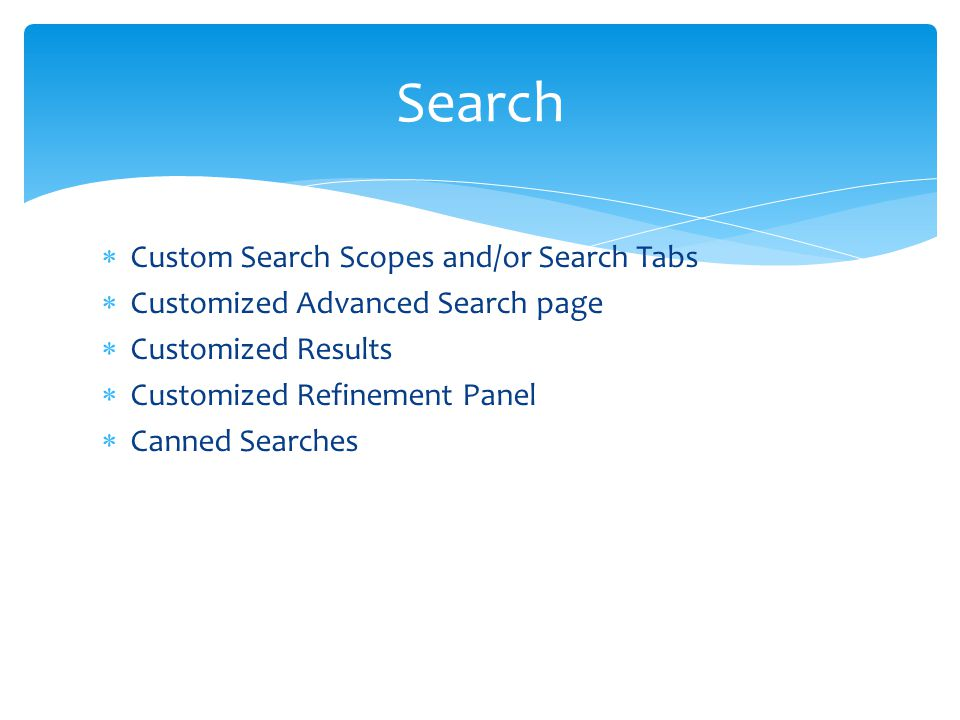  Custom Search Scopes and/or Search Tabs  Customized Advanced Search page  Customized Results  Customized Refinement Panel  Canned Searches Searc
