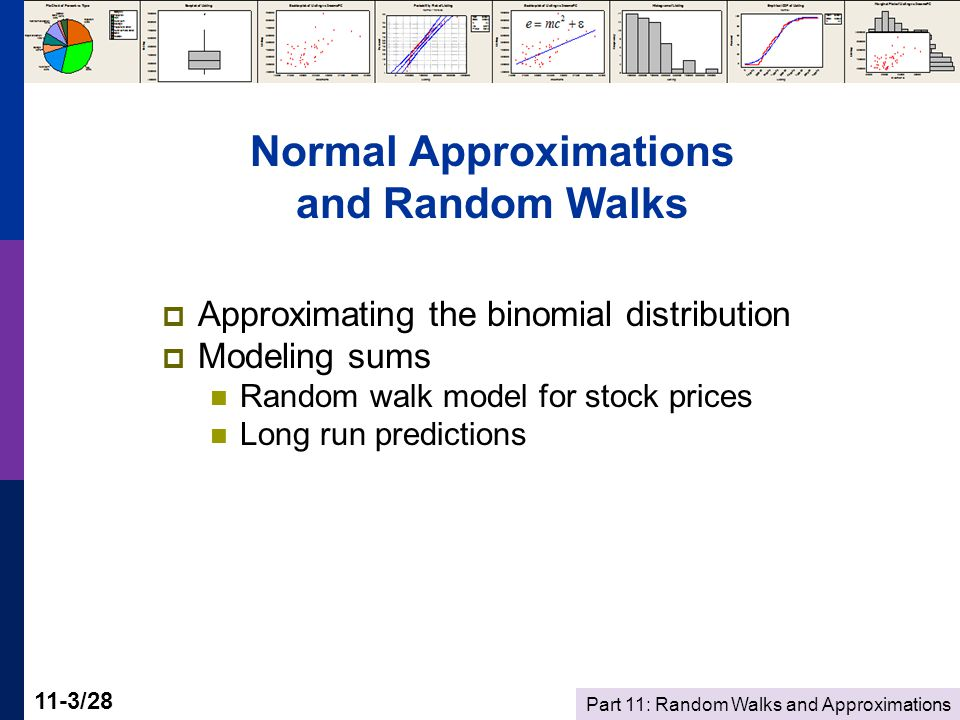 Part 11: Random Walks and Approximations 11-4/28 Binomial Probability  Best Buy sells 48 headphones for MP3 players per day (for $25 each)  The cashier offers an additional warranty (for $8)  The probability any individual customer will buy the warranty is 0.25.