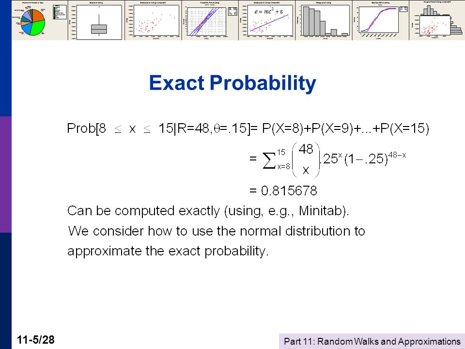 Part 11: Random Walks and Approximations 11-26/28 Application  Using the random walk model, with P 0 = $40, say μ =$0.01, σ=$0.28, what is the probability that the price will exceed $41 after 25 days.