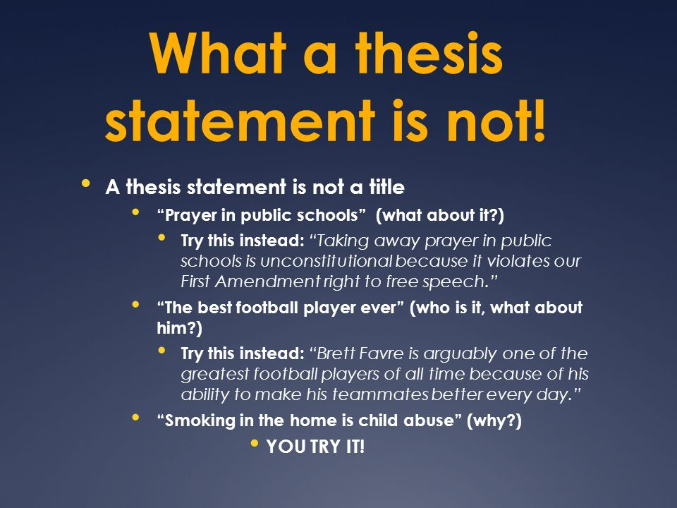 What a thesis statement is not.