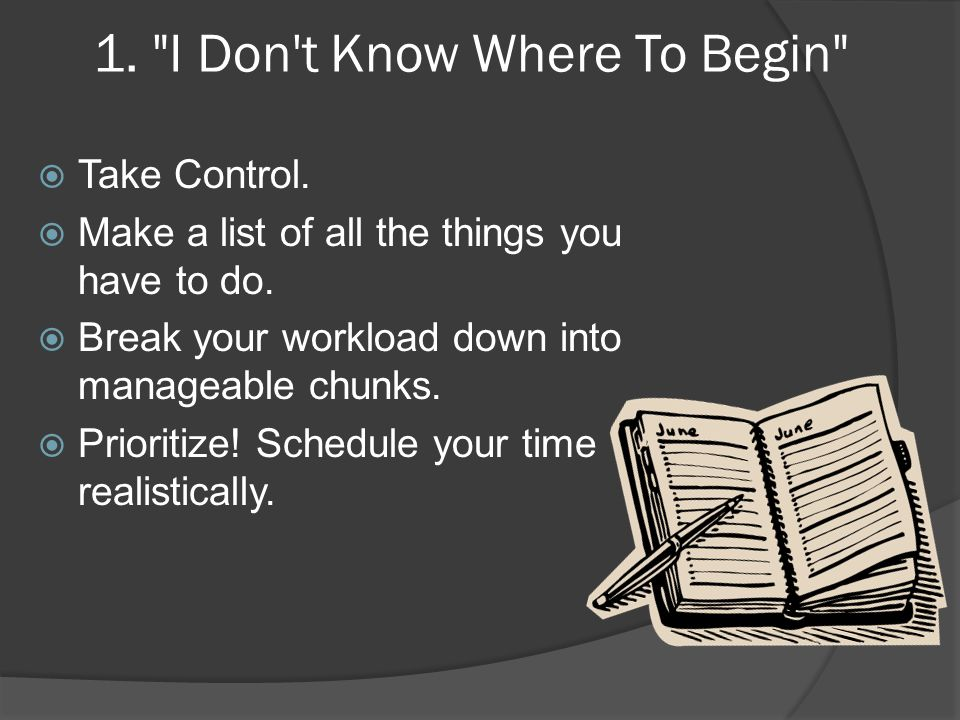 1. I Don t Know Where To Begin  Take Control.  Make a list of all the things you have to do.