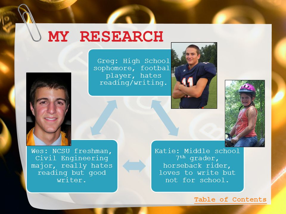 MY RESEARCH Greg: High School sophomore, football player, hates reading/writing.