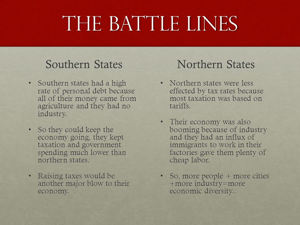 The battle lines Southern States Southern states had a high rate of personal debt because all of their money came from agriculture and they had no industry.Southern states had a high rate of personal debt because all of their money came from agriculture and they had no industry.