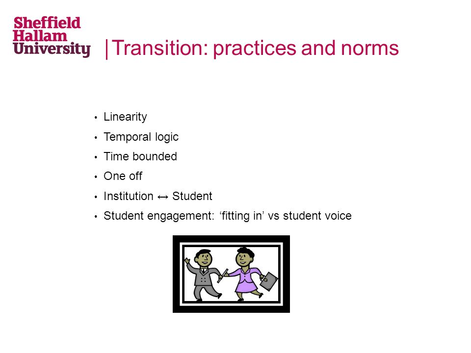 Transition: practices and norms Linearity Temporal logic Time bounded One off Institution ↔ Student Student engagement: 'fitting in' vs student voice