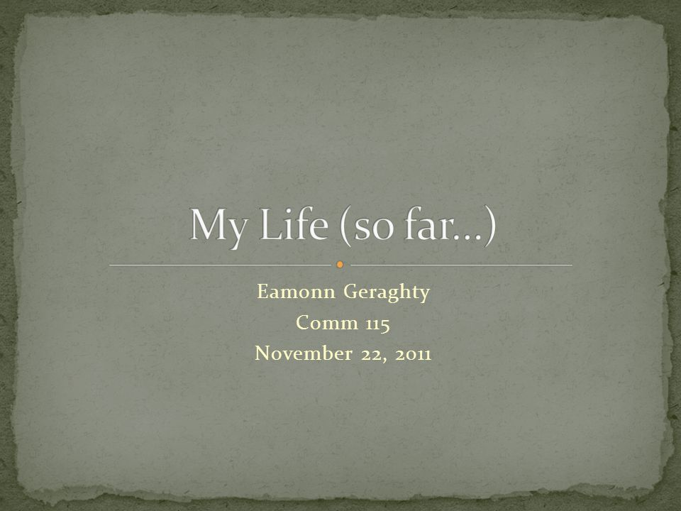 Eamonn Geraghty Comm 115 November 22, 2011