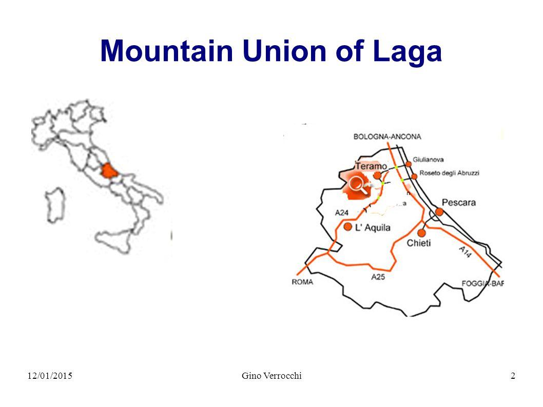 12/01/2015Gino Verrocchi3 Mountain Union of Laga six municipalities Campli 7800 Civitella del Tronto5800 Cortino1080 Rocca Santa Maria 850 Torricella Sicura3000 Valle Castellana1600