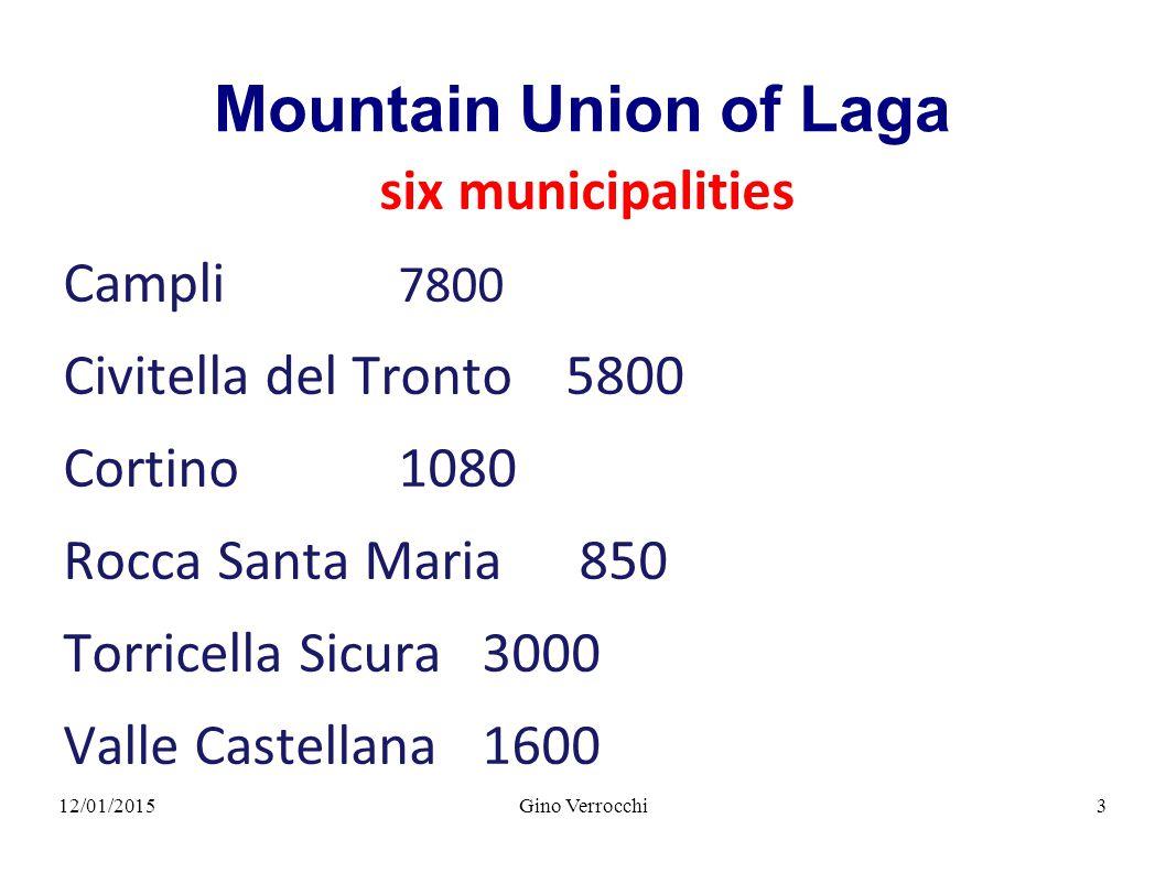 12/01/2015Gino Verrocchi4 Mountain Union of Laga 460,7 km 2 Total surface area 23.6% Teramo Province territory 6% Teramo Province inhabitants 80% between 800 & 2.800 m s.l.