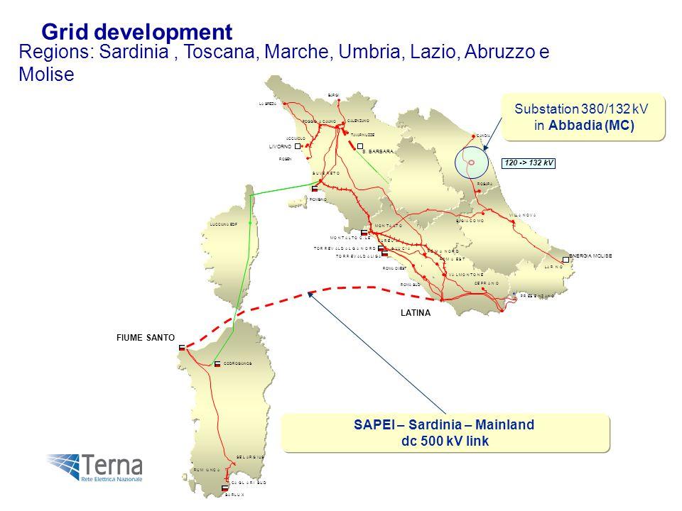 Regions: Sardinia, Toscana, Marche, Umbria, Lazio, Abruzzo e Molise é # # # # # # # # # # # # # # # # # # SARLUX LARNO AURELA SLUCIA SUVERETO RUMIANCA ROMA SUD MONTALTO ROMAEST SELARGIUS ROMA NORD VILLANOVA PRESENZANO ROSARA VALMONTONE CEPRANO CAGLARISUD MONTALTO C.LE TORREVALDALIGA FIUME SANTO PIOMBINO TORREVALDALGANORD CODROGIANOS SGIACOMO LATINA LUCCIANA EDF # # # # # # TAVARNUZZE CALENZANO POGGIO A CAIANO S.