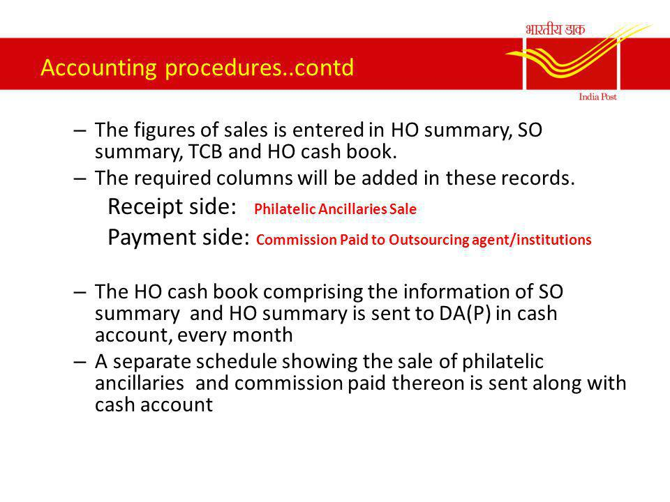 Accounting Procedure for sale of Philately Ancillaries The philatelic ancillaries will be sold for a period of 6 months from the date of release of FDC and brochure.