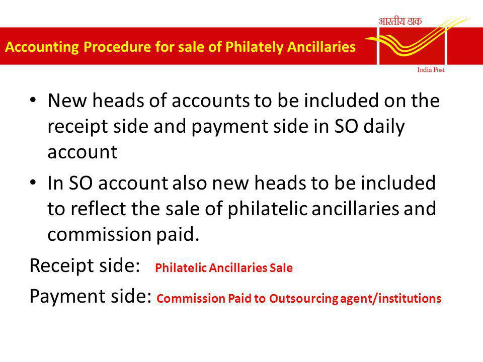 Accounting Procedure for sale of Philately Ancillaries New heads of accounts to be included on the receipt side and payment side in SO daily account I