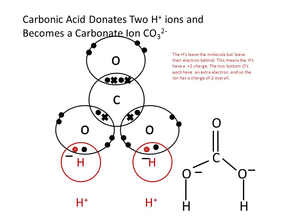 H C O O O H Carbonic Acid Donates Two H + ions and Becomes a Carbonate Ion CO 3 2- HH H+H+ H+H+ The H's leave the molecule but leave their electron be