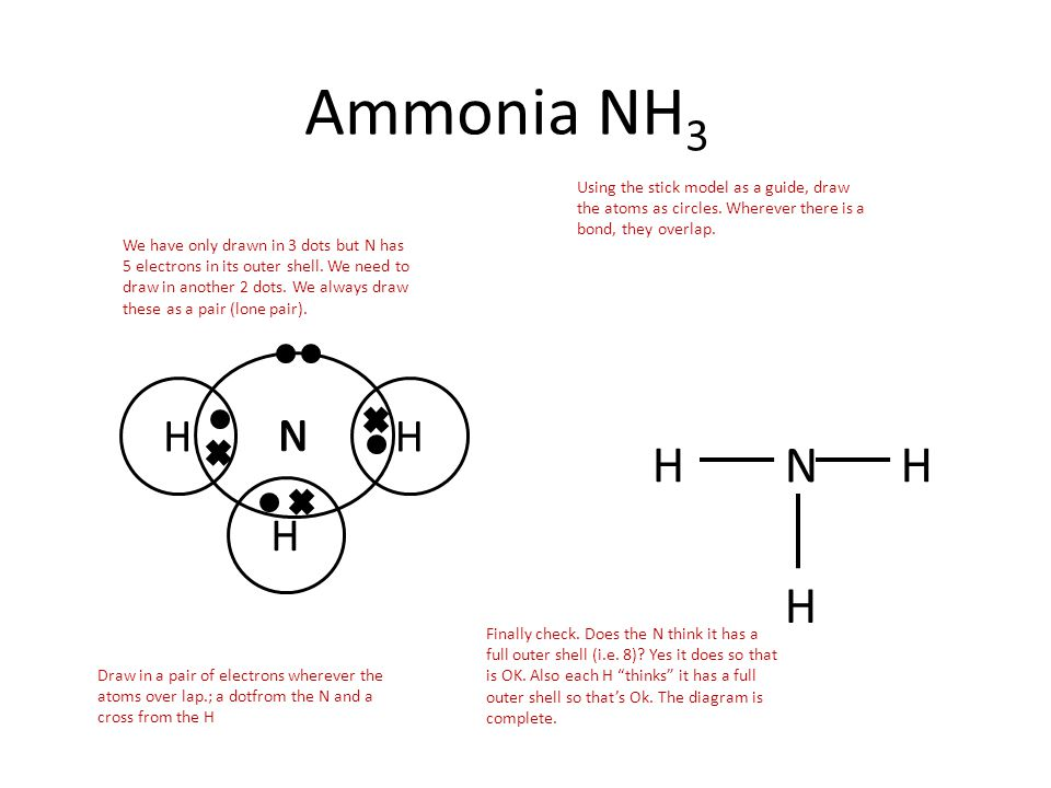 H HH Ammonia NH 3 N H HH Using the stick model as a guide, draw the atoms as circles. Wherever there is a bond, they overlap. Draw in a pair of electr